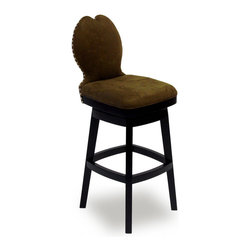 "Armen Living - Ava 30"" Swivel Barstool in Brown Fabric - The incomparably chic look of the Ava Swivel Barstool in brown microfiber is sure to elevate the design element in your home. Nailhead accents on the back add virulent value to sophisticated style.; Solid wood construction; 360 degree swivel mechanism; Fire retardant foam padding; Polyester microfiber fabric, easy to clean; 30"" seat height; Dimensions: 43.5""H x 17.5""W x 20.5""D"