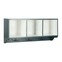 Wall Shelf with Three Hooks in Blue and White - Reminiscent of schoolhouse cubbies, the Safavieh Alice Wall Shelf is designed to minimize entry hall clutter, and keep kids organized.  Made from poplar wood with two tone color finish of navy and white, this piece has three storage spaces for hats, gloves, or decorative accessories and hooks for coats and scarves.