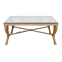 """GILANI - Goat Leg Coffee Table Base - Goat Leg Coffee Table Base (Square). Style no: CT89500. 42""""w x 42""""d x 18""""h. Goat Leg Coffee Table Base (Rect). Style no: CT89520. 48""""w x 36""""d x 18""""h. Material: Metal. Finish: As specified. Top Options: Glass, stone, wood. Serpent detail on stretcher can be deleted upon request. Custom sizing available. Designed by Shah Gilani, ASFD."""