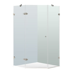 "VIGO Industries - VIGO 38 x 38 Frameless Neo-Angle 3/8"" Shower Enclosure - Both dramatic and space-saving, the VIGO frameless neo-angle shower enclosure creates a beautiful focal point for your bathroom."