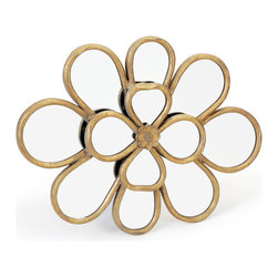 Lilypad Mirror - An aesthetic piece of art crafted artistically with the highest precision. This astounding Lilypad Mirror is sure to enlighten the mood of the onlooker. A stunning work of art featuring a smaller four mirror petals outlined with golden frame on a bigger flower. It is just perfect for any type of interior decor. A part of French country chic collection this mirror is bound to highlight the best in your decor.