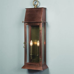 "French Quarter Period Wall Lantern - French Quarter Wall Lantern in antique copper, 2 lights, clear glass. Available in other finishes (60 colors) and sizes. Size shown:10""W x 28""H, extends 7"". NOTE MUST SHIP BY TRUCK."