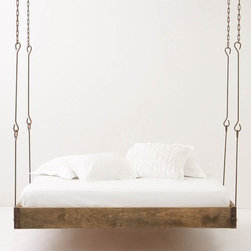 Barnwood Hanging Bed - A hanging bed — that's pretty cool!