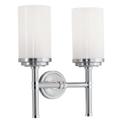 Robert Abbey - Halo Wall Sconce, Brushed Chrome - Why settle for one light when you can have two? Double your pleasure with this set of handsome wall sconces. The white glass shades topping these stately sconces have the look and feel of cozy, lit pillar candles.
