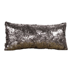 Howard Elliott - Silver Fox Kidney Pillow - Pillows are made to order. Change up color themes or add pop to a simple sofa or bedding display by piling up the pillows in a multitude of colors, textures and patterns. This Silver Fox Pillow features a faux fur texture with metallic finish. Silver Fox, a black faux fur texture with a metallic finish. 11 in. x 22 in.