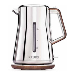 2.5 - Krups BW600 Silver Art Collection 2 Quart Electric Kettle - -Exclusive design: Stainless Steel, Chrome and wood optics