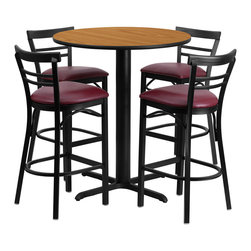 "Flash Furniture - 24"" Round Natural Laminate Table Set with Metal Bar Stools - Burgundy Seat - No need to buy in pieces, this complete Bar Height Table and Stool set will save you time and money! This set includes an elegant Natural Laminate Table Top, X-Base and 4 Metal Ladder Back Bar Stools. Use this setup in Bars, Banquet Halls, Restaurants, Break Room/Cafeteria Settings or any other social gathering. Mix in Bar Height Tables with standard height tables for a more varied seating selection. This Commercial Grade Table Set will last for years to come with its heavy duty construction."