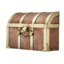 """Steamer Trunk Wall Mount Mailbox - 255 - Distinctive, durable, and unique, the copper steamer trunk features handcrafted brass accents and an etched finish. 15"""" L x 4 1/2"""" H x 10"""" W"""