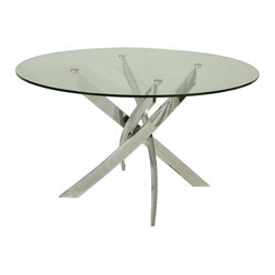 "Pastel Furniture - Pastel Fahrenheit Round Glass Dining Table with Chrome Base - The Fahrenheit dining table with 47"" round glass top with a unique and intricate chrome base design. This beautifully made table will add style and beauty to your dining area."