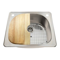 MR Direct - The MR Direct T2421 Kitchen Ensemble - The T2421 Kitchen Ensemble features a D-shaped, single-bowl design. Constructed of 18-gauge, premium 304-grade steel, the topmount design provides a faucet hole at the two, top deck corners. The drain is offset to provide more work area and the brushed-satin finish is not only beautiful, but masks minor scratches that may occur over time. A raised edge along the perimeter helps keep the counter dry. The ensemble comes complete with a standard drain, custom-fitted stainless steel grid, a genuine wood cutting board that fits perfectly over the left half of the sink, and the MR Direct limited lifetime warranty.