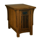 A.A. Laun Furniture - Arts and Crafts Chairside Table w Door (Golden Oak) - Finish: Golden Oak. Pictured in Mission Stain color. Mission style. Solid oak top, legs and door. Carefully selected oak veneer sides. Traditional quality craftsmanship. Made in USA. Made from solid red oak. 18 in. W x 27 in. D x 23 in. HEach piece has an authentic quarter sawn appearance. Doors are assembled with dovetailed key joinery with reversible inserts in matching oak veneer or contrasting black panels. Drawers are solid wood English dovetailed drawer boxes with Mission style hardware. The Arts and Crafts collection emphasizes the beauty of the quarter sawn oak grain.