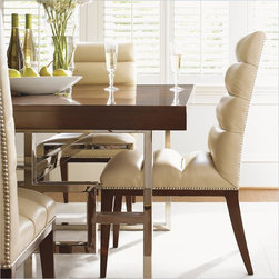 Lexington Mirage Stuart Leather Side Chair in Cashmere Finish - Available only in Desert Oasis, a supple leather in a vanilla cream coloration. The silver nailhead trim is gorgeous against the warm brown Cashmere finish on the exposed wood legs.