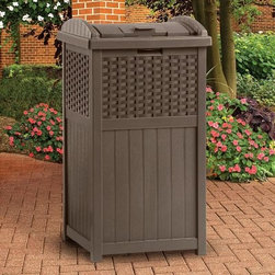 Suncast Resin Wicker Trash Receptacle - Keep your outdoor space neat and tidy with the Suncast Resin Wicker Trash Receptacle. Available in mocha with woven-style inlays this durable outdoor trash can combines all-weather construction with chic design. Built to last of heavy-duty resin this unit features a solid bottom panel and handy latching lid.This trash receptacle holds standard-size 30 to 33 gallon garbage bags. It's lightweight and assembles in minutes with no tools required.About Suncast Corporation:Suncast is known for its high-quality low-maintenance storage products and accessories. Organize gardens back yards garages basements and more. Suncast's full line of products includes everything from storage lockers to sheds and bins. Suncast pieces are designed for low-maintenance worry-free performance that's versatile enough to suit your every need.