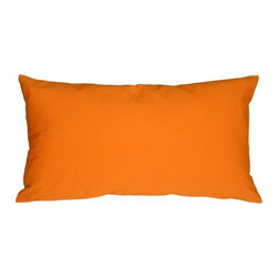 """Pillow Decor - Pillow Decor - Caravan Cotton Orange 9 x 18 Throw Pillow - Bold and beautiful, the Caravan Cotton 9 x 18 Throw Pillows are the ideal pillows for adding a simple splash of color to your decor. With 3% spandex added to improve durability and wash ability, this soft cotton pillow will provide long lasting comfort. This is a petite lumbar pillow. Measurements are based on the pillow cover when measured flat before stuffing. For a slightly more generous size, consider our 12"""" x 19"""" size."""