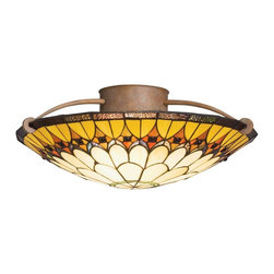 TIFFANY - TIFFANY Artaxerxes Tiffany Art Nouveau Semi-Flush Mount Ceiling Light X-71096 - An elegant flower of light, this Kichler Lighting semi flush mount ceiling light features Art Nouveau Tiffany influencing. From the Artaxerxes Collection, the Dore Bronze and copper foil Tiffany art glass shade compliment each other elegantly.