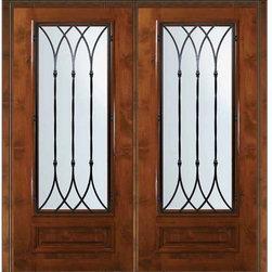 """Prehung Double Door 80 Wood Alder Warwick 3/4 Lite Wrought Iron - SKU#E08662WW-G-WE34W2WBrandGlassCraftDoor TypeExteriorManufacturer Collection3/4 Lite Entry DoorsDoor ModelWarwickDoor MaterialWoodWoodgrainKnotty AlderVeneerPrice4255Door Size Options  +$percentCore TypeDoor StyleDoor Lite Style3/4 LiteDoor Panel Style1 PanelHome Style MatchingDoor ConstructionEstanciaPrehanging OptionsPrehungPrehung ConfigurationDouble DoorDoor Thickness (Inches)1.75Glass Thickness (Inches)Glass TypeDouble GlazedGlass CamingGlass FeaturesLow-E , TemperedGlass StyleGlass TextureWater , Flemish , Baroque , Fluted , Rain , Glue Chip , ClearGlass ObscurityLight Obscurity , Moderate Obscurity , Highest Obscurity , No ObscurityDoor FeaturesDoor ApprovalsWind-load Rated , SFI , TCEQ , AMD , NFRC-IG , IRC , NFRC-Safety GlassDoor FinishesDoor AccessoriesWeight (lbs)603Crating Size25"""" (w)x 108"""" (l)x 52"""" (h)Lead TimeSlab Doors: 7 Business DaysPrehung:14 Business DaysPrefinished, PreHung:21 Business DaysWarrantyOne (1) year limited warranty for all unfinished wood doorsOne (1) year limited warranty for all factory?finished wood doors"""