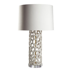 Loving Lighting - Ivory Porcelain Lamp with Silk Shade - Organically shaped perforations create a striking aesthetic in the ivory finished porcelain base of this lamp.  Satin brass accents offer a warm contrast and tie together the ivory silk shade.  It is truly an eye pleasing centerpiece for any room.