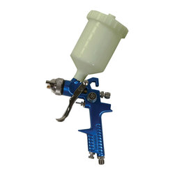 Buffalo Tools - Buffalo Tools HVLP Gravity Feed Spray Gun - Get a full and even spray when you paint with the Buffalo Tools HVLP Gravity Feed Spray Gun. Paint Spray Guns provide superior coverage and finish than traditional brushes and rollers. The adjustable spray pattern and volume control make this gun ideal for doing detailed painting, stenciling and other delicate designs. The plastic cup can hold up to 20 ounces of paint and operates at a maximum pressure of 43 PSI. Fits onto a 1/4 inch NPT air inlet.
