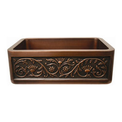 Whitehaus - Copperhaus Rectangular Sun Flower Design Kitc - Color: Smooth Bronze14 gauge sink. Hand made. 3.5 in. center drain. Copper is IAPMO tested and 97.5 % pure certification. Inner: 27 in. L x 17 in. W x 10 in. H. Overall: 30 in. L x 20 in. W x 10.25 in. H (44 lbs.). Warranty. Copper Care97.5% is pretty much the purest copper you can get without it being too soft for practical applications.