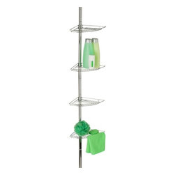 Chrome Corner Tension Rod Shower Caddy - Honey-Can-Do BTH-03079 Corner Bathtub and Shower Caddy, Chrome. Free up your shower floor by going vertical with a shower caddy from Honey-Can-Do. This bath and shower caddy features four low profile shelves to store all of your bath essentials. The strong, spring-loaded design adjusts to any shower or tub configuration and shelves can be arranged from top to bottom in any order. Durable steel construction ensures the caddy will remain sturdy and rust resistant. Chrome finish matches any bathroom decor.