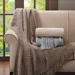 Madison Park Signature - Madison Park Signature Luxury Braided Chenille Throw - The Luxury Braided Chenille Throw is a sophisticated addition to any home. Made from a polyester, rayon, and cotton fabric, the chenille throw is luxuriously soft and features fringe on the ends for a casual look that�۪s perfect for everyday living. 58% polyester, 26% rayon, 16% cotton