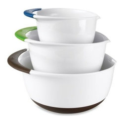 Oxo - OXO Good Grips 3-Piece Mixing Bowl Set - Perfect for mixing batters, marinades, and more. Set includes one of each: 1 1/2-quart, 3-quart, and 5-quart bowls.