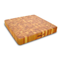 Catskill Craftsmen - Catskill Square Super Slab Chopping Block with Finger Grooves - This hefty 3-inch-thick end grain cutting board is reversible and includes finger slots for easy handling. A chef's favorite. Catskill Craftsmen Model 12020.