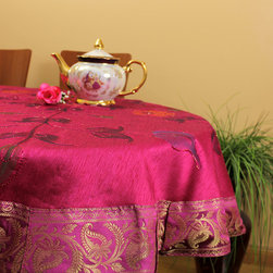 """Unique & DecorativeTablecloths - Unique """"Fuschia"""" 53"""" Round Tablecloth. Dupion Silk fabric. Great complement for any table top. Hand painted design from India."""