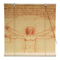 Oriental Furniture - Vitruvian Man Bamboo Blinds - 72 Inch, Width - 72 Inches - - These stunning bamboo matchstick blinds feature an image of Leonardo da Vinci's famous sketch  Vitruvian Man .  Available in five convenient sizes.   Easy to hang and operate.  Available in five sizes, 24W, 36W, 48W, 60W and 72W.  All sizes measure 72 long. Oriental Furniture - WTCL09-0504-72
