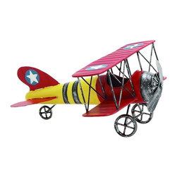 Benzara - Metal Propeller Biplane Red Yellow Paint Job Star Decor - Old fashioned metal propeller biplane figurine with red and yellow paint job and star details nostalgic display decor