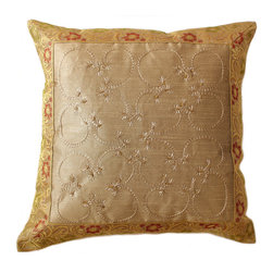 Banarsi Designs - Hand Embroidered Pillow Cover, Set of 2, Light Gold - Discover our exclusive and unique Hand Embroidered pillow cover collection from Banarsi Designs. This set of pillow covers incorporates hand embroidery and features radiant and expressive tones. These decorative pillow covers measure 16x16 inches and are sold as a pair. Made in India.