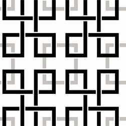 Warner - Mg33151 Madison Fretwork Black/White Geometric Oriental Wallpaper - The Modern Gentleman, MG33151 Madison Fretwork is a black , white and silver oriental, geometric square trellis pattern wallpaper.