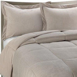 Aeolus Down, Inc. - Luxe Stripe Reversible Down-Alternative Twin Bedding Set - This luxurious down-alternative comforter will keep you warm and comfy all year round. The plush Luxe stripe reverses to a brushed Luxe twill for an easy way to change up your bedding.