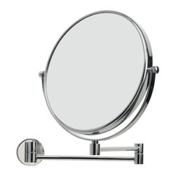 "WS Bath Collections - Mirror Pure 9"" x 9"" Mevedo Make Up Magnifying Mirror Wall- mount Revolving and E - Collection Mirror pure by WS Bath collections; fine, unique, and innovative, make-up and shaving mirrors, made to the highest standards of stainless steel and high-quality materials, long lasting construction, in perfect crafted workmanship. Enjoy yourself with mirror pure Features: -Magnifying glass. -Mirror Pure collection. -Polished chrome finish. -Chrome construction. -Wall mount. -Reloving and extendable. -Made in Italy. Specifications: -Manufacturer provides One Year warranty against defects in workmanship, materials, or operation, excluding ordinary wear and tear. -Overall dimensions: 9"" W x 9"" D."