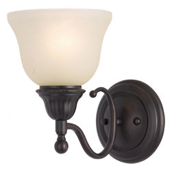 Joshua Marshal - One Light Oil Rubbed Bronze Soft Vanilla Glass Wall Light - One Light Oil Rubbed Bronze Soft Vanilla Glass Wall Light