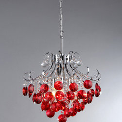 Warehouse of Tiffany - 'Athena' Red Crystal and Chrome 3-light Chandelier - With this gorgeous three-light crystal chandelier in your home you will think you're standing beneath a stunning bushel of sparkling cherries. The dangling red crystals are designed to catch the light and create beautiful lighting in your home.