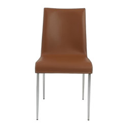 Euro Style - Upholstered Side Chair - Set of 2 - Set of 2. 1.5 mm thick chromed steel frame. Cognac regenerated leather over foam seat. Black edge piping. White thread. Smooth, easy to clean leather. Durable steel frame. Stylish edge piping on seat. Comfortable foam seat. Warranty: One year. Cognac and chrome finish. No assembly required. Seat height: 18.5 in.. Overall: 22.5 in. W x 17.33 in. D x 33.67 in. HThree variations on a modern classic. The real leather seats and backs offer up a sense of elegant luxury. The chromed steel legs and footrests make them as strong as they are contemporary.