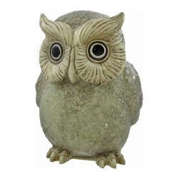Zeckos - White Crackle Glass Owl Lamp - This crackle glass owl lamp adds a lovely accent to your home while casting a warm glow from wherever it is placed. When the lamp is off, it is white, when it is on, it looks amber in color and it is sure to be admired. The face and feet of the owl are made of a cold cast resin and painted to match the rest of the lamp, and the body is made up of dozens of pieces of glass. It measures 7 1/2 inches tall, 6 inches wide, 6 1/4 inches deep and has a 6 foot black power cord with a toggle on/off switch. Foam pads on the bottom of the lamp prevent it from scratching your furniture, and a 7 watt Type T bulb is included. It makes a thoughtful gift for teachers, students, or any wise person in your life.
