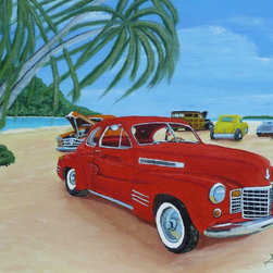Wreck Beach, Original, Painting - Classic American cars from a bygone era evoke memories of a cruising and carefree youth. Anthony Dunphy's vibrant color palette gives you many hues to work with throughout a room. Let it be the pop of color you need or play up the reds, blues and greens with your home's everyday accessories. Either way, this bold landscape is a great addition to your art collection.