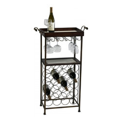 "Joshua Marshal - Mahogany and Copper 40.5"" New York Wine Stand - Mahogany and Copper 40.5"" New York Wine Stand"