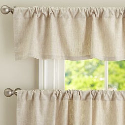 """Emery Linen Cafe Curtain 50 x 36"""", Ivory - Charming in a kitchen or breakfast nook, Emery brings a casual warmth to the room. 50"""" wide; available in valance and two curtain lengths Woven of a linen/cotton blend. Lined with cotton. Hangs from the pole pocket or from Clip Rings (sold separately). Valance and curtain sold separately. Dry-clean. Imported."""
