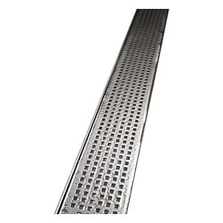 "Quartz by Aco - Quartz by Aco Linear Drain Quadrato Design Flange Body, Stainless Steel, 28"" - Quartz Flange Edge Linear Shower Drain Quadrato Design"