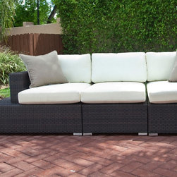Source Outdoor - Source Outdoor Manhattan All-Weather Wicker Deluxe Sectional Sofa Multicolor - S - Shop for Chairs and Sofas from Hayneedle.com! Additional features:Right and left arm unit dimensions: 42L x 34W x 32H inches; weight: 57 lbs.Armless unit dimensions: 37L x 32W x 26H inches; weight: 34 lbs.Seat height on all seats: 18 inchesWeight capacity on all seats: 250 lbs.Left and right arm units feature handy side table with glass coverPerfect for the poolside - simply hose off to cleanComfortably seats 3 peopleAdditional sectional pieces can be purchased at check outToss pillows not included but can be added at checkoutShips fully assembled3-year manufacturer's warranty for material and workmanshipPolyester fabric cushions come with 1-year warrantySunbrella fabric cushions have a 5-year fade warrantyYou'll love to sink into the relaxing comfort of the Source Outdoor Manhattan All Weather Wicker Deluxe Sectional Sofa as you soak in the sights and sounds of the beautiful outdoors. What you'll love even more about this sofa is that the units can be configured in a number of seating arrangements to suit your occasion or available space - for family gatherings push the units together to promote conversation or pull them apart and create smaller seating groups for a social gathering! This set includes left and right arm units and one armless unit - you can even purchase additional sectional pieces at check out to further customize your seating area.Boasting clean lines and a stylish contemporary design this deluxe sectional sofa features generous seats and extra-thick cushions to envelope you in luxurious comfort - the likes of which you've never experienced before! To add to your convenience the left and right arm units feature handy in-built side tables with glass covers to keep snacks and beverages handy. Available in polyester fabric options including Sunbrella the cushions will beautifully complement your outdoor setting.With durable all-weather Dura-Weave resin wicker over a fully-welded powder-coated aluminum frame this deluxe sectional sofa makes a great addition to your outdoor seating area but can easily transition to your indoor living space as well. The rich dark brown Espresso finish which is saturated through the weave complements most color schemes and adds a warm feel to any setting even as it continues to look like new season after season. Cleaning this deluxe sectional sofa is as simple as spraying it down with your garden hose or wiping it with a solution of mild dish soap and water.Please note: Natural color polyester fabric cushion options are Quick Shipped while Sunbrella fabric cushion options take slightly longer to ship as they are made to order.About Dura-Weave: Dura-Weave is made of superior-quality high density polyethylene (HDPE) which offers the right blend of tensile strength; bending properties necessary for weaving outdoor wicker. HDPE's superior weather and chemical resistance makes Dura-Weave suitable for all applications and ideal for outdoor usage. Dura-Weave is weather-resistant UV-resistant and available in a wide variety of colors and styles. All Dura-Weave is put through a vigorous 3000 hour UV light test which makes it extremely durable producing beautiful and elegant outdoor furniture. In addition Dura-Weave is also suitable for interior applications.About Sunbrella: Sunbrella has been the leader in performance fabrics for over 45 years. Impeccable quality sophisticated styling and best-in-class warranties prove the new generation of Sunbrella offers more possibilities than ever. Sunbrella fabrics are breathable and water-repellant. If kept dry they will not support the growth of mildew as natural fibers will. Beautiful and durable Sunbrella is a name you can trust in your outdoor furniture.About Source OutdoorCommitted to providing quality outdoor furniture to its customers all over North America Source Outdoor showcases the latest styles in outdoor synthetic wicker. Operating out of a 60 000 sq. ft. warehouse Source Outdoor manufactures outdoor resin wicker furniture to hospitality-grade standards and takes great pride in quality and customer service. A name to reckon with in the patio furniture industry Source Outdoor is fast becoming synonymous with stylish outdoor wicker patio furniture that offers uncompromising quality and lasting function.