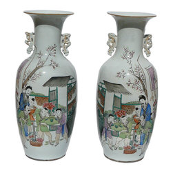 Golden Lotus - Pair  Chinese Porcelain Oriental Scenery Vases - This is a pair of Chinese oriental old man and kids gathering for birthday scenery vases. The back has some Chinese calligraphy art.