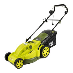 "Snow Joe - Electric Mower 17"" 13 Amp - Sun Joe Mow Joe MJ403E 17"" 13 Amp Electric Mower. No more messy gas or oil! Just power up your Mow Joe with the push of a button and watch its powerful 13-amp motor mow a 17"" wide path in a single pass. Easily Cutting Height control with a 7-position height adjustment lever. The 12-gallon rear bag detaches easily for quick disposal or use it as a mulching mower by removing the bag. The MJ403E provides the added security of a safety switch."