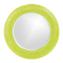 Howard Elliott Bergman Green Small Round Mirror - This round, resin mirror is painted in a glossy green giving the piece textured, starburst effect.