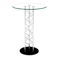 "Zuo Modern - Zuo Modern Chardonnay Modern Bar Table X-111126 - Like an architectural tower, the Chardonnay table has a clear tempered glass top with a chromed steel tube center and a black solid steel base plate. The intricate diagonal ""lacing"" comes in both bar and dining heights."