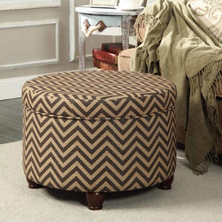 Kinfine - Chocolate/Tan Chevron Large Round Storage Ottoman - Add multi-functional style to your home with this chocolate/tan storage ottoman. This statement piece comes in fun fashion patterns and can be used to store magazines, throws, toys, accessories or anything else that is taking up too much space.