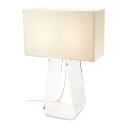 Pablo Designs - Tube Top Table Lamp in White/Clear - Features: