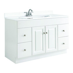 Design House - Design House Cabinets Wyndham 48 in. W x 21 in. D Unassembled Vanity Cabinet - This is the go-to 48 in. vanity for any bathroom that needs a splash of brightness. With a white semi-gloss finish and raised-panel doors this sleek piece will give any powder room a crisp clean appearance. Assembly of the unit is quick and straightforward utilizing a frameless full-overlay blueprint to craft a classic cabinet with two doors and four drawers giving way to ample storage space within. The medium-density fiberboard material used for this vanity is pressure-bonded with a Thermo foil coating giving it a uniform finish and water resistance to withstand years of high-humidity environs. Apply a modern contemporary flair to any bathroom with the Design House Wyndham vanity and consider an accompanying wall or medicine cabinet in white from the same collection (sold separately). Color: White Semi-Gloss.